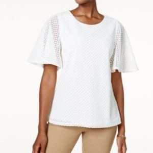 Charter Club Flutter-Sleeve Lace Top. NWT